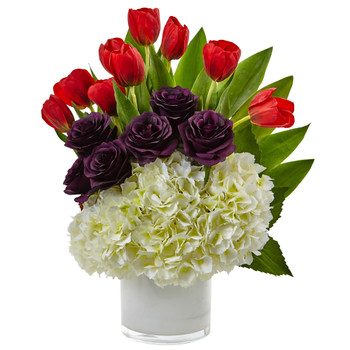 Tulip Rose Hydrangea Arrangement - SKU #1472-WP